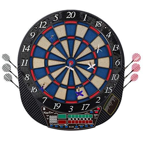 """Kings Dart Dartscheibe """"Cricket""""   Elektronische Dartscheibe in Turniergröße   Inkl. 12 Dartpfeilen   Leuchtanzeige + Sound   3-Loch-Segment   31 Spielmodi"""