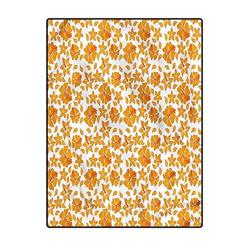 Garden Indoor Carpet for Boys Indoor Modern Area Rugs Hibiscus Flourish 6.5 x 8 Ft