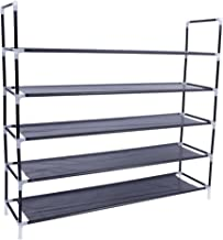 5-Tier shoe rack organizer storage bench stand for mens womens shoes closet with unwoven fabric shelves & holds 25 pairs.Hot black shoe racks with unwoven fabric shelf & easy assembly no tools