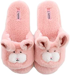 Millffy Open Toe Slippers for Women|Womens Cute Bunny Slippers|Pink Fuzzy Dog Slippers|flip Flops Indoor House Slippers