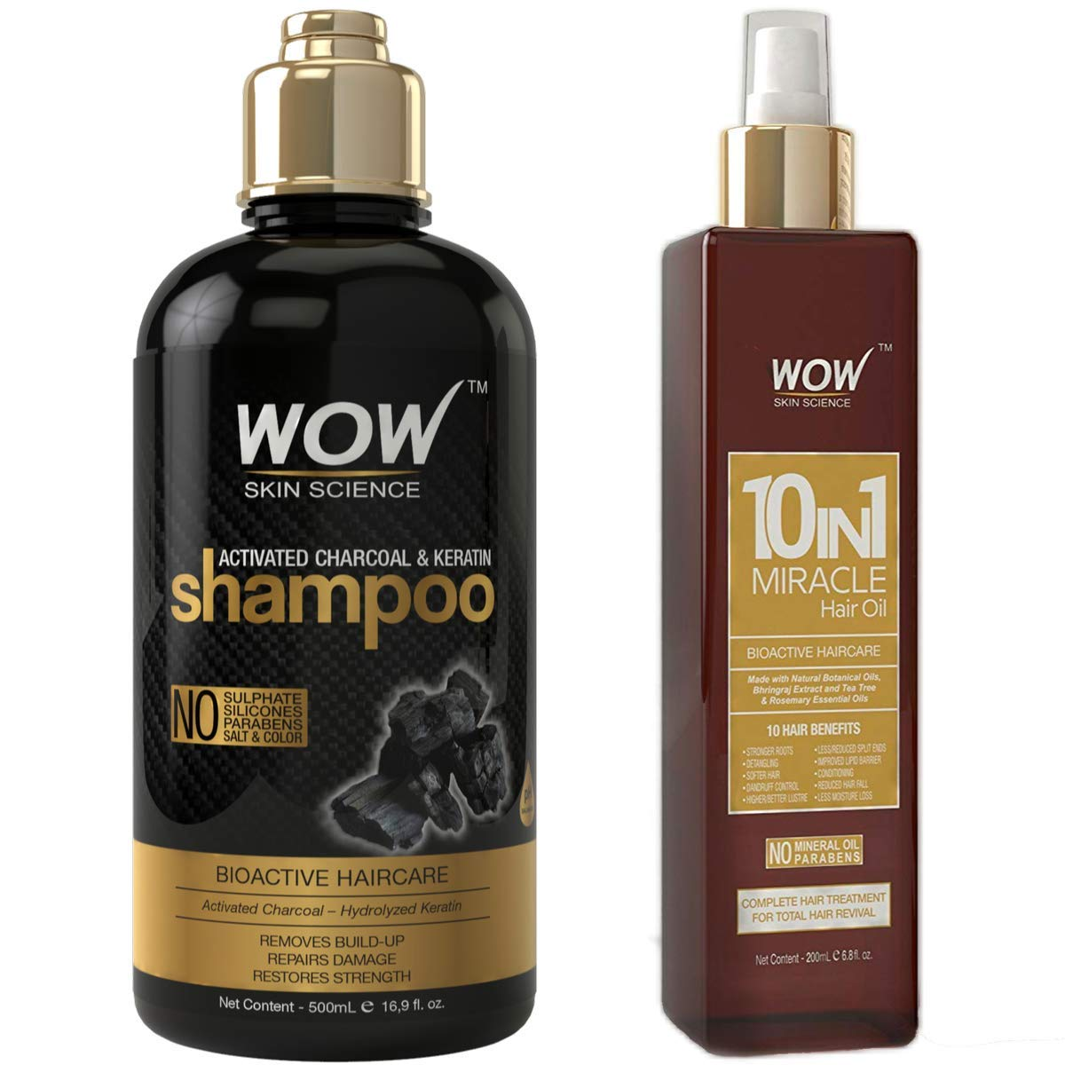 Award WOW NEW before selling Activated Charcoal Keratin Shampoo Hair Oil 500ml and 2