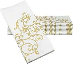 "Simulinen Dinner Napkins – Gold & White – Decorative Cloth Like & Disposable Large Napkins – Soft, Absorbent & Durable (19""x17"" – Box of 60)"