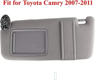 GOLDPAR Left Driver Side Sun Visor Fit for 2007 2008 2009 2010 2011 Toyota Camry &Toyota Camry Hybrid 2007-2011Without Sunroof and Light (Gray)