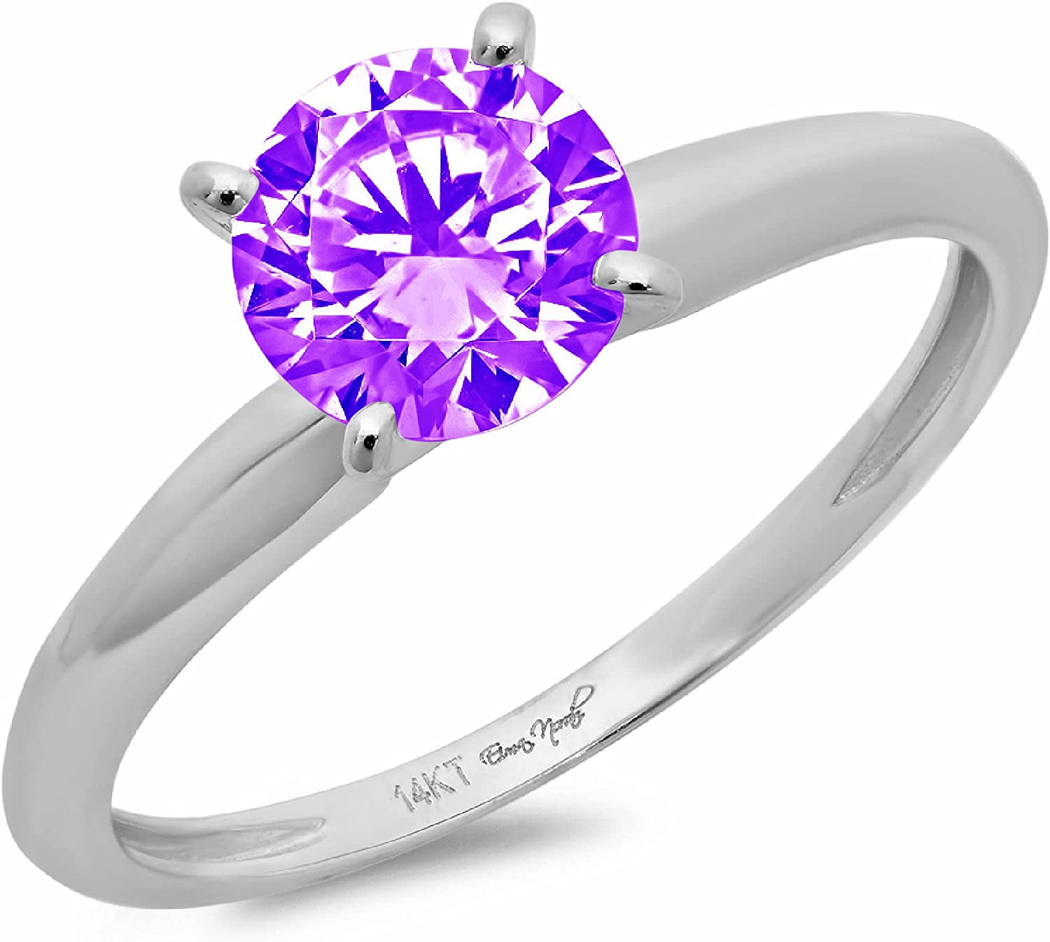Clara Pucci 3.0 ct Brilliant Round Cut Solitaire Natural Purple Amethyst Gemstone 4-Prong Engagement Wedding Bridal Promise Anniversary Ring in Solid 18K White Gold for Women