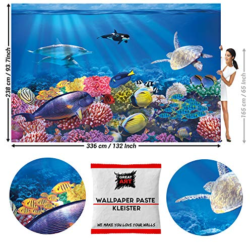 GREAT ART Fototapete Ozean Unterwasserwelt 336 x 238 cm – Fische Meer Delphin Schildkröte Korallenriff Kinder Wandtapete Dekoration Wandbild – 8 Teile Tapete inklusive Kleister