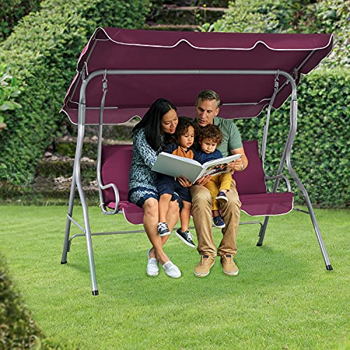 ArtLife Hollywoodschaukel 3-Sitzer mit Dach & Sitzauflage – Gartenschaukel 200 kg belastbar – Schaukelbank für Garten & Terrasse – rot - 3