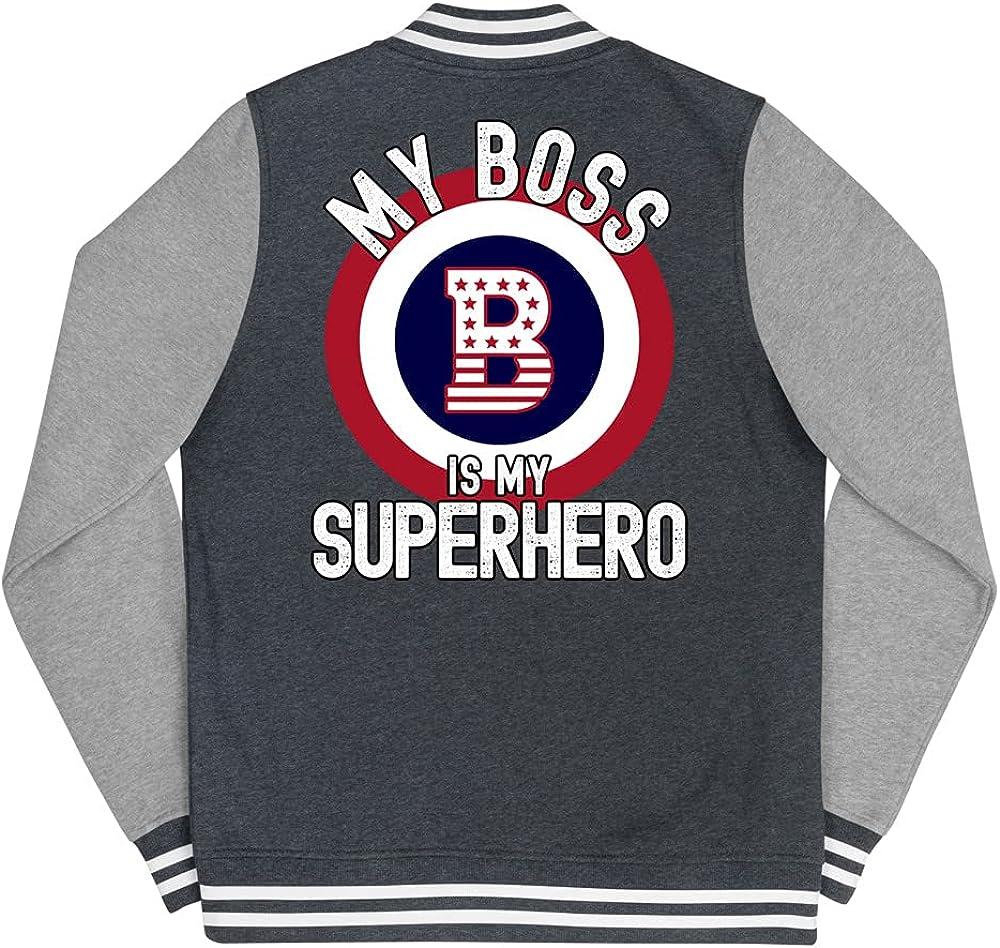 My Boss is Superhero Womens Ranking TOP1 Jacket Letterman Kansas City Mall
