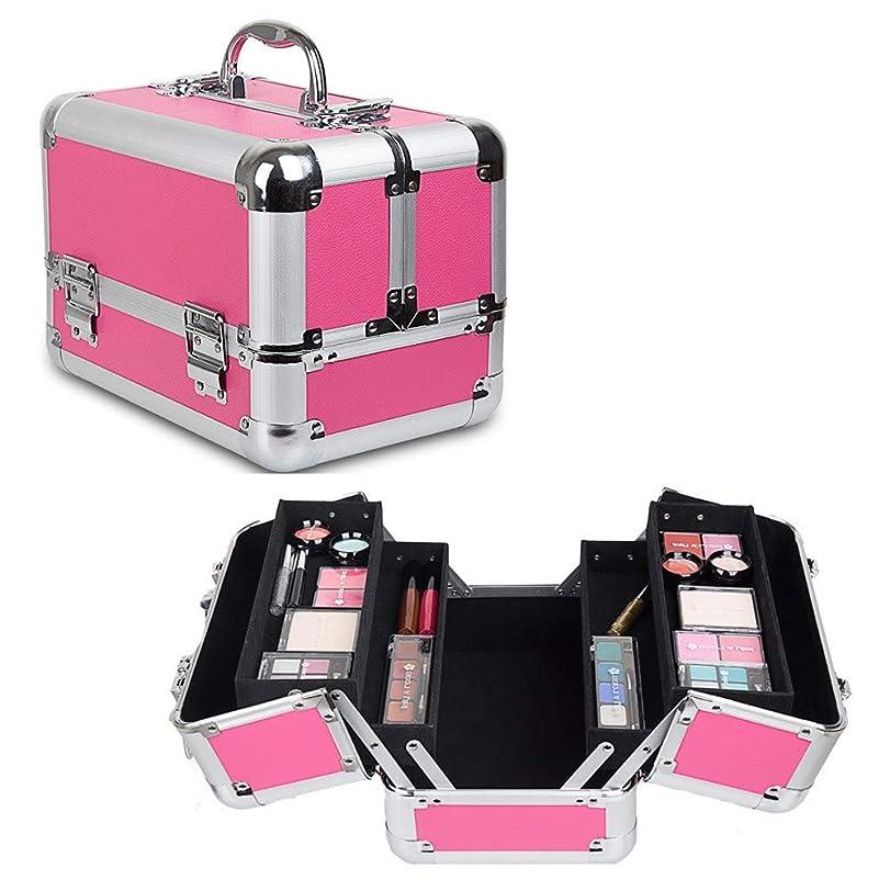 ビーズ含める迷惑特大スペース収納ビューティーボックス 美の構造のためそしてジッパーおよび折る皿が付いている女の子の女性旅行そして毎日の貯蔵のための高容量の携帯用化粧品袋 化粧品化粧台