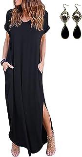 UUAISSO Vestidos Mujer Maxi Vestido Mangas Cortas Boho Verano Playa Vestidos Cóctel Fiesta