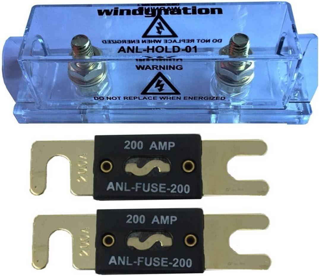 WindyNation ANL Fuse Holder + ANL Fuse (2pcs 200A Fuse)