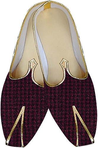 INMONARCH Herren Magenta und SchwarzHochzeit Schuhe MJ014119