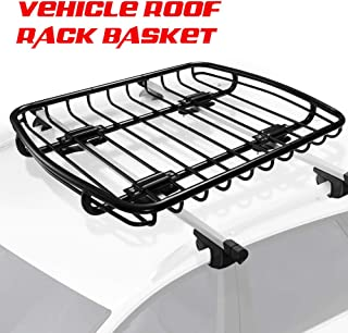 Universal Rooftop Cargo Basket Heavy Duty Cargo Roof Carrier Rack Ideal for SUV,Truck,Car, Roof Top Luggage Carrier for Hauling Luggage. SIZE: L44