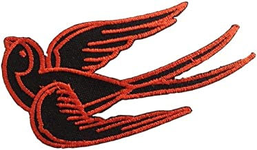 Sparrow Swallow Bird Black Tattoo Biker Dove iron on patch Applique Embroidered Border Red