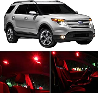 SCITOO LED Interior Lights 11 pcs Red Package Kit Accessories Replacement Fits for 2006-2010 Ford Explorer