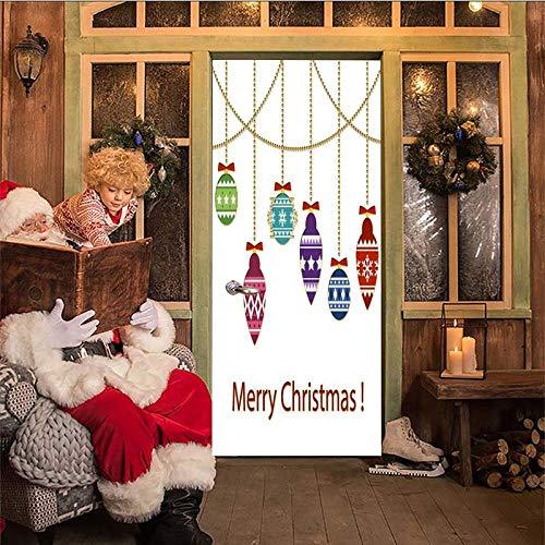 ZYHCHH 3D Tür-Aufkleber DIY Home Decor Decals Self Adhesive Wandgemälde Frohe Weihnachten Laterne Luftballons Tür Wasserdichte SelbstKlebe Wand Kunst Tür Tapete Bilder Hause Dekoration Wandb 88x200cm