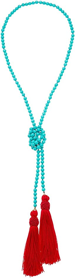 Kenneth Jay Lane - Turquoise Bead Neck w/ Red Tassels Necklace