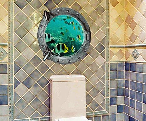 Pegatina de pared vinilo adhesivo ojo de buey peces efecto 3D decorati