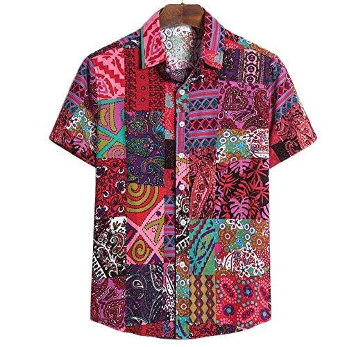 Camisas Summer Casual Hombres Bolsa Bolsa Hawaiian Print Botón de Manga Corta Botón Retro Camisetas Tops Blusa Camisa de los Hombres TC77 Red, Size : 4XL