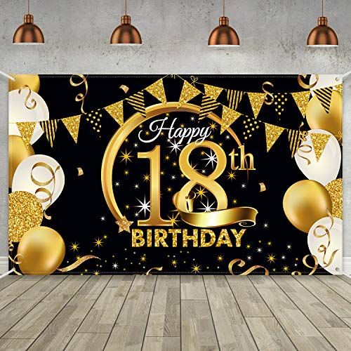 Birthday Party Decoration Extra Large Fabric Black Gold Sign Poster for Anniversary Photo Booth Backdrop Background Banner, Birthday Party Supplies, 72.8 x 43.3 Inch (18th)