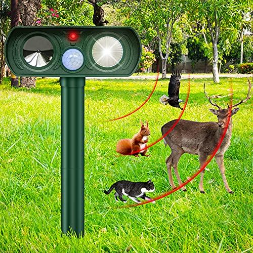 Katzenschreck für Garten, Katzenschreck Ultraschall Solar Tiervertreiber, mit LED-Licht und Infrarot-Erkennung PIR, Solarladung IP44 wasserdicht
