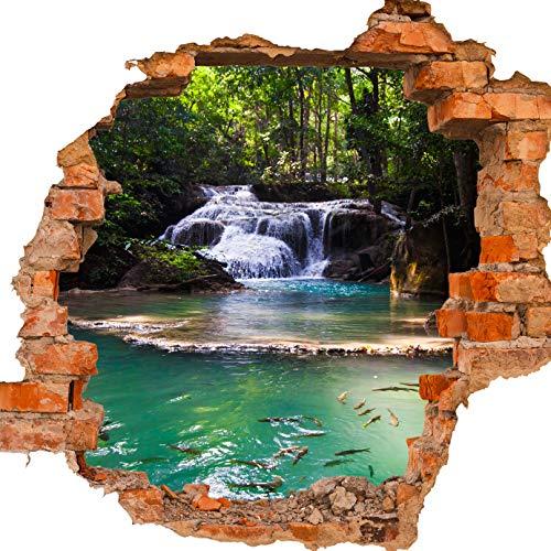 wandmotiv24 Adesivo da Parete 3D Cascata di Erawan, Thailandia, Design 02, 90x82cm (BxH), Adesivo da Parete, murale, Effetto 3D, Finestra, Muro, Adesivo da Parete, Adesivo M1059