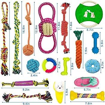 AMAYGA Jouet pour Chien,17 Jouets Balles pour Chien,houets pour Chiens Jouet de Corde à Mâcher,durables mâcher Corde,Coton Naturel et Non Toxique