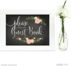 Andaz Press Wedding Framed Party Signs, Chalkboard Floral, 5x7-inch, Please Sign our Guestbook, 1-Pack, Includes Frame