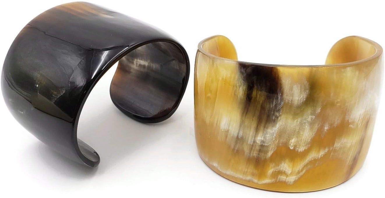 Dark Horn Cuff Bracelet Natural Handmade Glossy VE-55