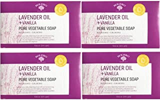 Pure Bath Soap- Cruelty Free, No Artificial Dyes or Parabens- Pack of 4 - Lavender Oil & Vanilla