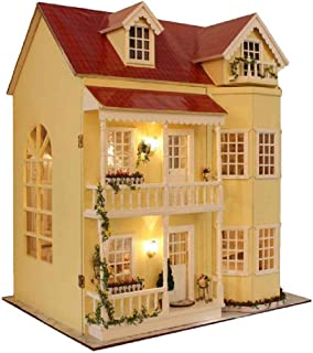 Cute Room DIY Miniature Dollhouse Kit with Furniture,3 Floors Large Wooden Doll House Plus Music Movement & Lights, DIY Ho...