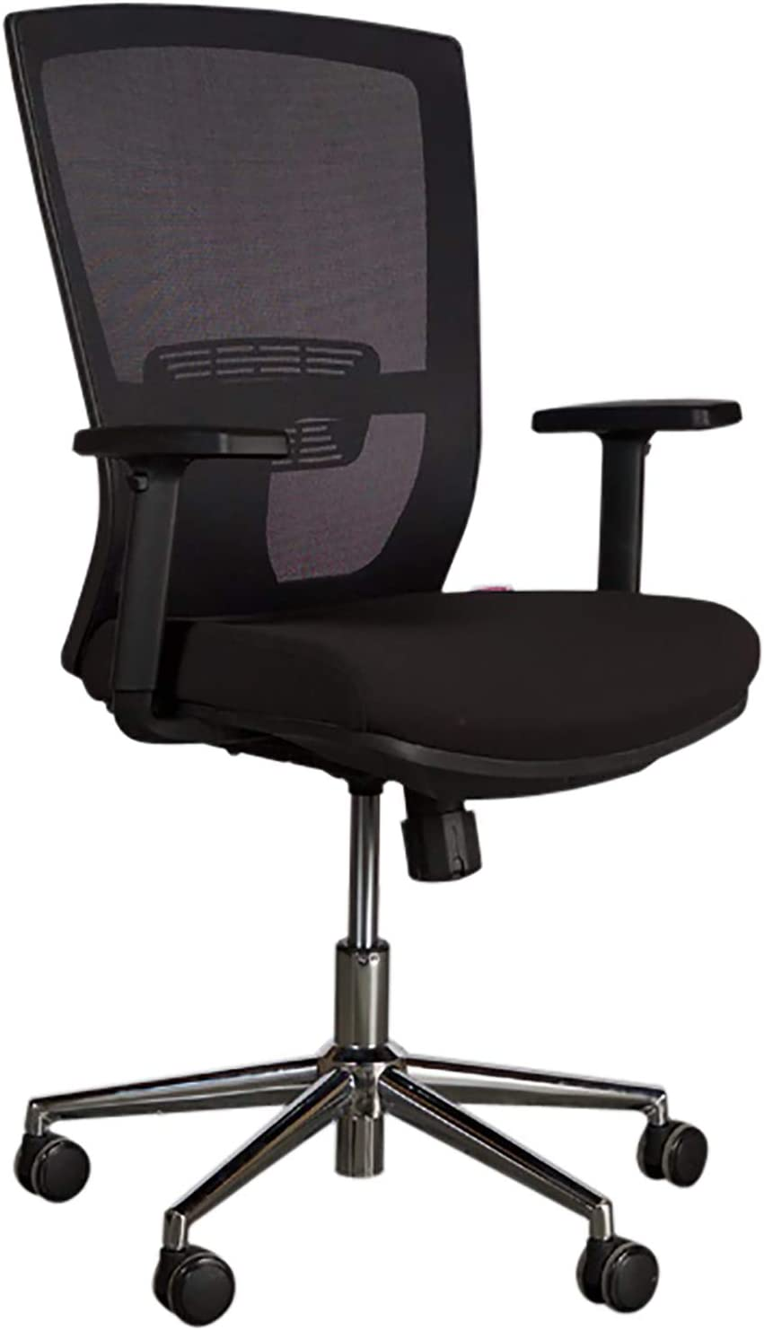 Mahmayi sleekline t01b medium back ergonomic chair – quality mesh fabric upholstery, molded foam cushioning – office chair with chrome base – adjustable armchair – black - 48 x 48 x 108cm