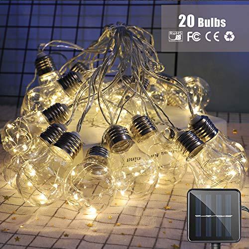 Bombillas Guirnaldas de Luces Solar, Morbuy Alambre de Cobre Jardín Exterior Impermeable Decorativa Cadena de Luces 8 Modos para Navidad Festival Fiesta Terraza Árbol (8m / 20 Bombilla)