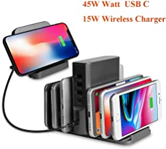 USB C Charger. ZIKU 100W Wireless Charger 5 Port USB Charging Station Stand Dock Organizer Travel Charger with a 45W USB C Portfor USB-C Laptops, MacBook, iPad Pro, iPhone, Galaxy, Pixel and More