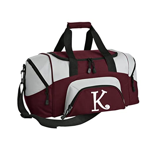 d6c07e60455 SMALL Personalized Gym Bag Monogrammed Duffel Bag Custom Printed Initial  Maroon