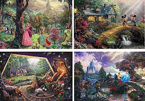 Disney(ディズニー) クラシックパズルセット 500ピース×4 【眠れる森の美女】【ミッキーとミニー】【白雪姫と七人のこびと】【シンデレラ】 トーマスキンケード