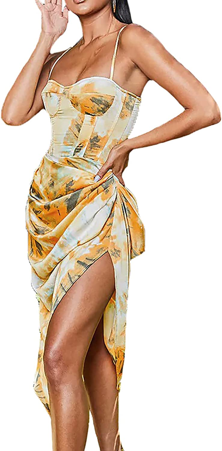 Womens Dresses for Wedding Guest Satin Cocktail Dress Silk Ruched Bodycon Midi Dresses Fall