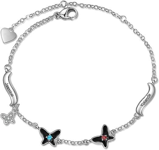 Personalized Bracelet for Women Sterling Silver Custom 1-4 Names Birthstone Butterfly Bangle Bracelet Jewelry Gifts Birthday Gifts for Wife Teacher Women Girls