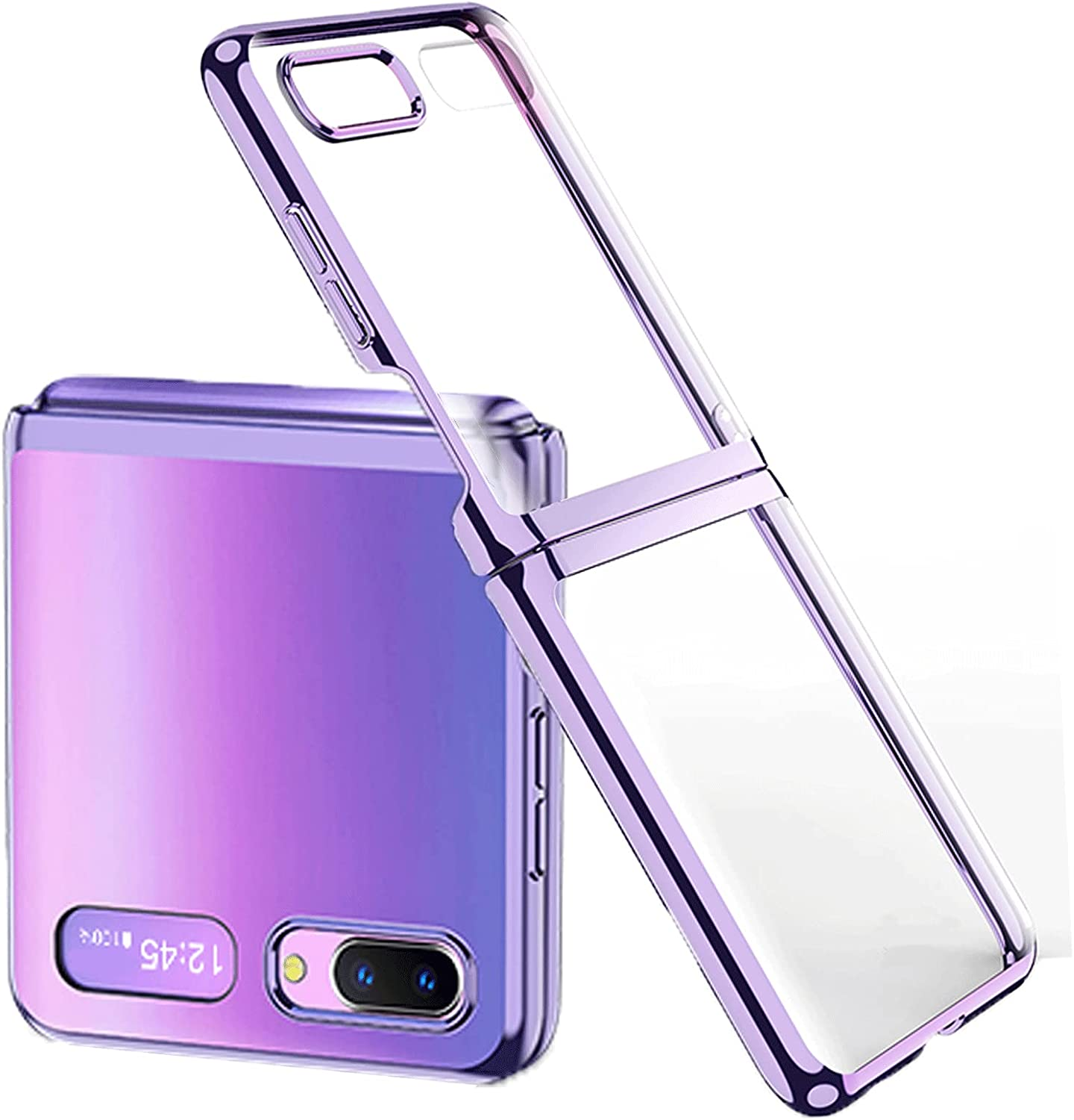 Miimall Compatible with Samsung Galaxy Z Flip 5G 2020 Case,Ultra-Thin Heat Dissipation 180 Degree Folding,Anti-Scratch and Anti-Shock Polycarbonate Case for Galaxy Z Flip (Purple)