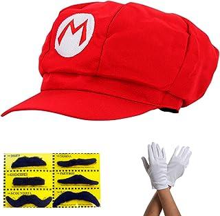 comprar comparacion Super Mario Gorra - Disfraz para Adultos y niños en 4 Colores Diferentes + Guantes y 6X Barba pegajosa Carnaval y Cosplay