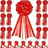 20 Piezas Cinta Largo Brillante Colores del Decoración del Coche Bucles de Cinta para Decoración de Regalo, 20 CM (Rojo Brillante)