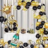 AndThere Kit de Arco Globos Oro Negro Adornos Cumpleaños Decoraciones para Fiesta Globo de Látex Confeti Guirnalda de Globos con Corona Banner Feliz Cumpleaños Globo para Niños Hombres Graduación