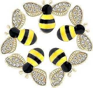 Bee Charm Pendants, ELECDON 20 Pcs Enamel Bee Charm Pendants with Rhinestone, Honeybee Charms Pendants Craft Embellishment...