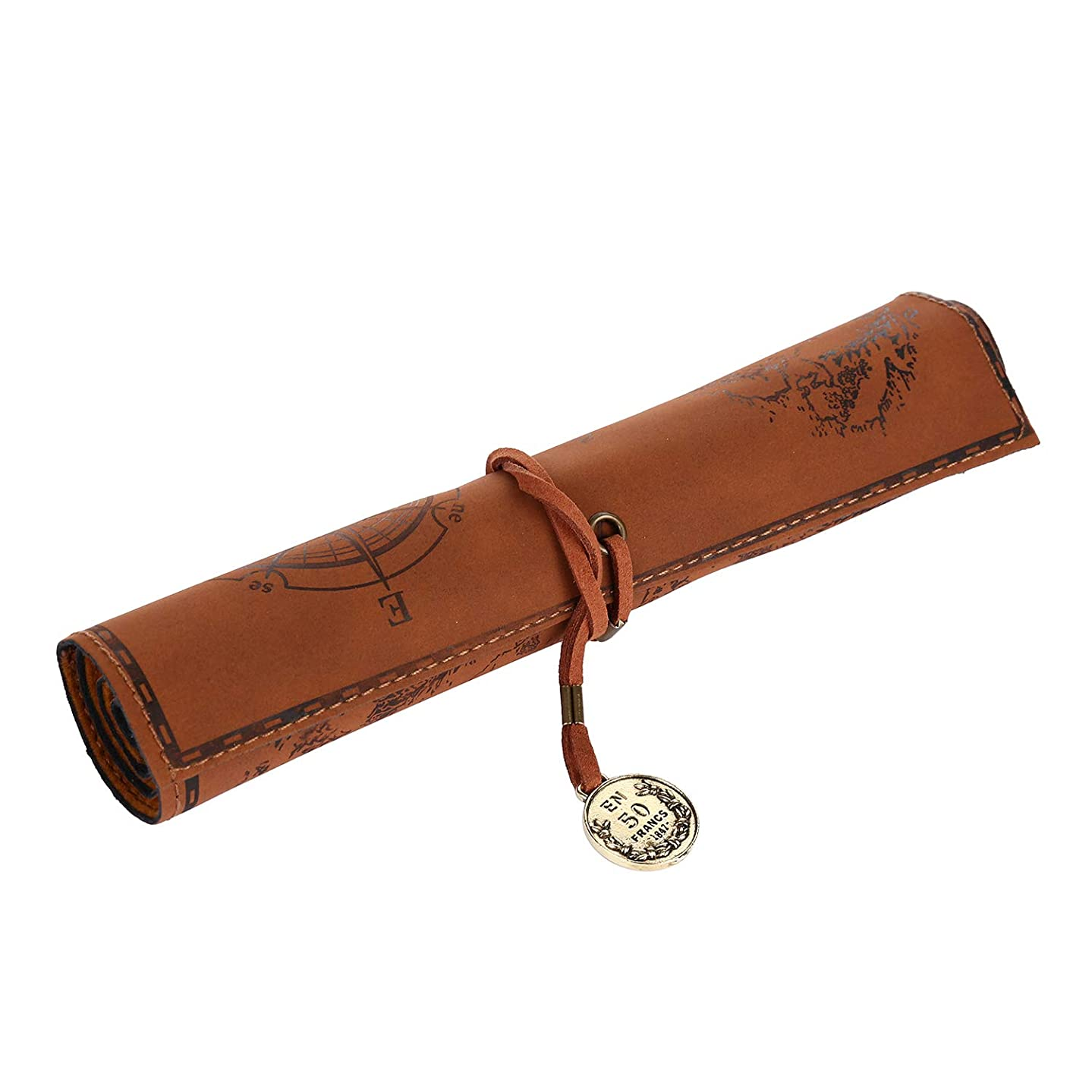 VABNEER PU Leather Pencil Roll Case Vintage Pencil case Pen Bag Pencil Holder (Brown)