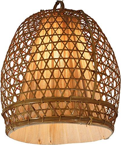 Guru-Shop Deckenlampe/Deckenleuchte Hernando - in Bali Handgemacht aus Naturmaterial, Rattan, Bambus, Baumwolle, 45x35x35 cm, Dekolampe Stimmungsleuchte