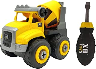 FunBlast DIY Cement Mixer Truck Vehicles Set - Construction Car for Kids, Building Vehicle Play Set with Screwdriver - Pac...