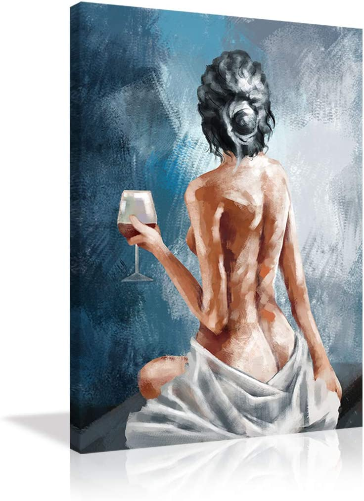 Abstract Sexy Woman Easy-to-use Canvas Wall with Financial sales sale Nude Pa Art Wine