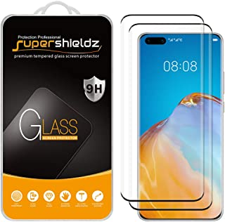 (2 Pack) Supershieldz for Huawei P40 Pro Tempered Glass Screen Protector, (Full Cover) (3D Curved Glass) Anti Scratch, Bub...