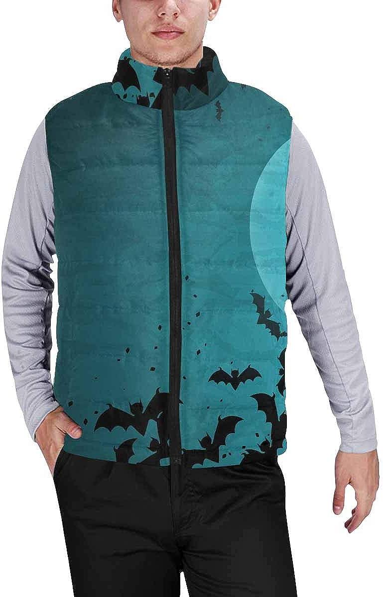 InterestPrint Men's Outdoor Casual Stand Collar Padded Vest Coats Halloween Monsters