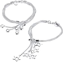 YouBella Jewellery Silver Plated Latest Crystal Combo of Bracelet Bangle Jewellery for Girls and Women