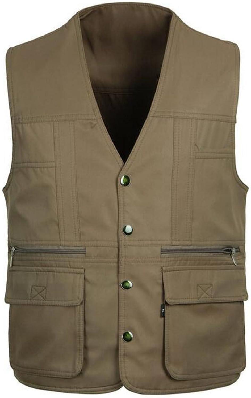 Men's Outdoor Waterproof Tactic MultiPocket Vest DoubleSided Casual Jacket,BrownXXXL